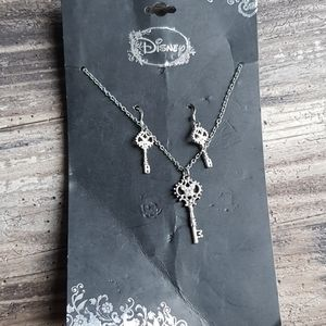 Disney Mickey Key Necklace & Earring Jewelry set